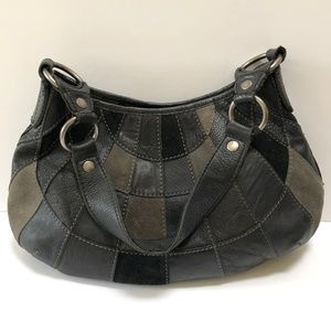 Lucky Brand Patchwork Suede Leather Purse Hobo Bag
